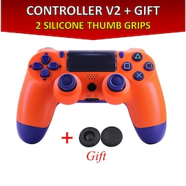 Wireless Controller for all SONY PS4 Consoles with GIFT 2 Thumb Grips for Dualshock 4 V2 Orange