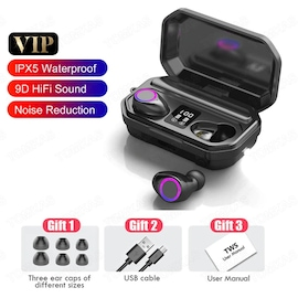 Wireless Headphones HIFI Mini In-ear TWS Running Sports Headset With Mic for iOS/Android (Black)