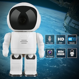 Wireless IP Camera - Robot Shaped, Pan & Tilt, 1280x960, Two-Way Audio, Phone App, Alarm Notification