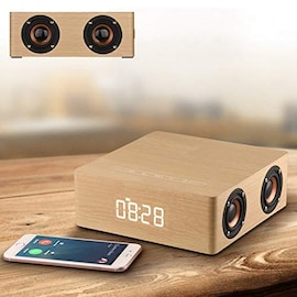 Wolfsay Wooden Bluetooth Alarm Clock Speaker 3600mAh Battery Support Audio Input TF Card/U-disk Play