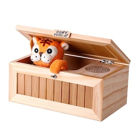 Wooden Useless Box Leave Me Alone Box Most Useless Machine Don't Touch Tiger Toy Gift with Sound
