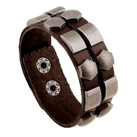 Wristband Adjustable Leather Bracelet New Fashion Unisex Geometric Aloy Punk Rock Cowhide Bangle Cuff