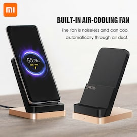 Xiaomi 55W Wireless Charger Max Vertical air-cooled wireless charging Support Fast Charger For Xiaomi 10 For Iphone Black