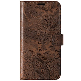 Surazo® Back Case Genuine Leather for phone Oppo A91 - Wallet Case - Ornament Brown