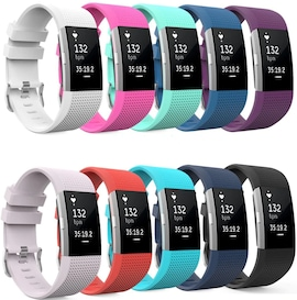 Soft Silicone Wrist Strap Watchband For Fitbit Charge 2 Replacement Watch Band Black