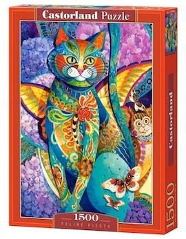 Castor Puzzle 1500 elementów Kot kolorowy Feline Fiesta