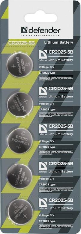Baterie Litowe Defender 3V Cr2025 Blister 5 Szt