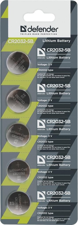 Baterie Litowe Defender 3V Cr2032 Blister 5 Szt