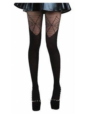 Women's Cobweb Over The Knee Black Tights