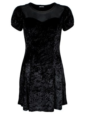 Women's Jawbreaker Dotted Mesh Little Skater Dress Black  Skinny Fit Large (UK 12 to 14)