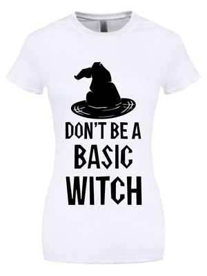 Women's Don't Be A Basic Witch White Tshirt  Skinny Fit XL (UK 14 to 16)