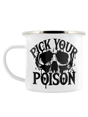 Pick Your Poison Enamel Mug White 8cm