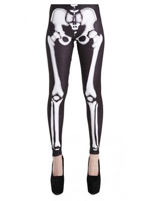 Women's Skeleton Bones Black & White Leggings  Ladies UK SM