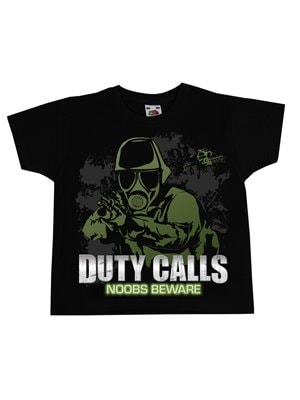 Duty Calls Noobs Beware Kids Black Tshirt  Kids 7 to 8 Years