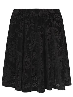 Women's Banned 9 Lives Black Velvet Skater Skirt  Skinny Fit Small (UK 8 to 10)