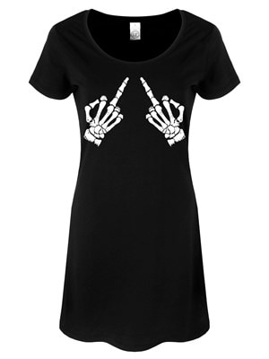 Women's Up Yours Tshirt Dress Black  Skinny Fit Small (UK 8 to 10)