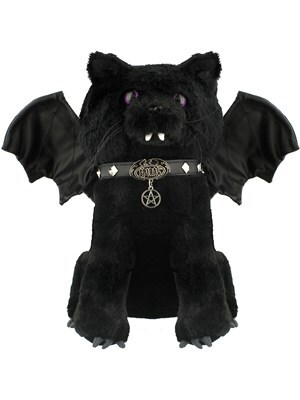 Spiral Bat Cat Plush Toy Black 30cm