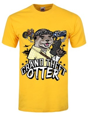 "Men's Grand Theft Otter Tshirt Yellow / Extra Large (Mens 42"" to 44"")"
