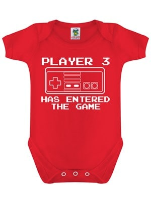 Player 3 Has Entered The Game Red Baby Grow  Baby 03 Months