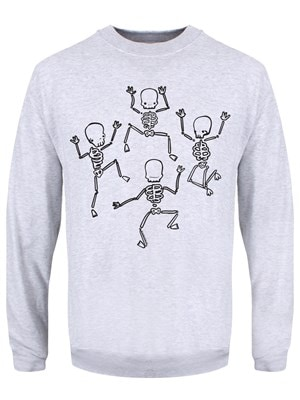 "Men's Dancing Skeletons Sweater Grey  Extra Large (Mens 42""to 44"")"