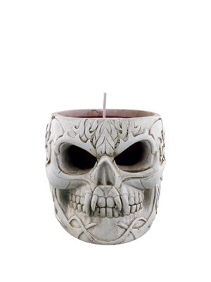 Spiral Goth Skull Resin Candle Holder With Red Wax Candle