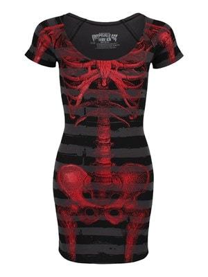 Kreepsville 666 Women's Red Skeleton Striped Dress Black  Skinny Fit L (UK 12 to 14)
