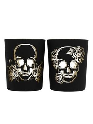 Skull Glass Tea Light or Votive Holders Black  Set of 2