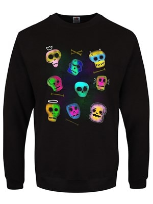 "Men's Spooky Skulls Halloween Black Sweater  Extra Large (Mens 42""to 44"")"