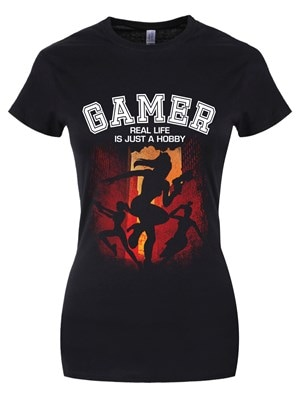 Women's Gamer Real Life Is Just A Hobby Tshirt Black  Skinny Fit XL (UK 14 to 16)