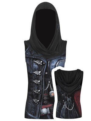 Spiral Assassins Creed Syndicate Evie Women's Gothic Top Black  Skinny Fit Small (UK 8 to 10)