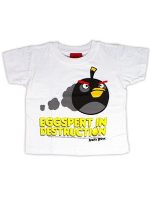 Officially Licensed Angry Birds Eggspert In Destruction White Kids Tshirt  Kids 1 to 2 Years