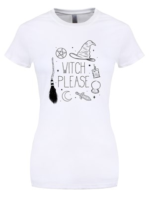 Witch Please Halloween Women's Tshirt White  Skinny Fit XL (UK 14 to 16)