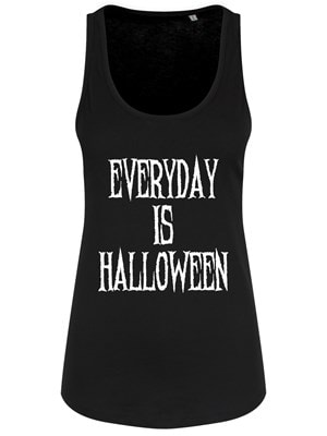 Women's Everyday Is Halloween Floaty Tank Vest Black  Skinny Fit L (UK 12 to 14)