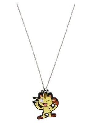 Pokemon Women's Meowth Enamel Pendant with Chain PKMN Necklace Silver