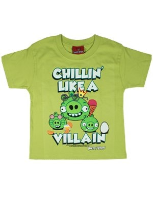 Officially Licensed Angry Birds Chillin Like A Villain Green Kids Tshirt  Kids 9 to 10 Years