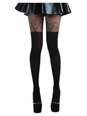 Pentagram Women's Over The Knee Black Tights