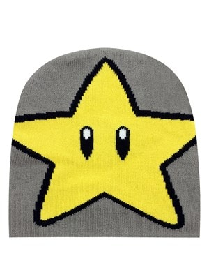 Nintendo Star Knitted Beanie Grey