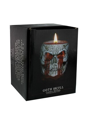 Spiral Goth Skull Resin Candle Holder With Red Wax Candle - product photo 2