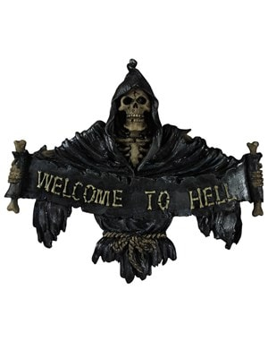 Welcome To Hell Gothic Plaque 25x21cm