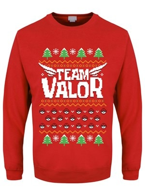 """Men's Team Valor Christmas Jumper Sweater Red  Small (Mens 36"""" to 38"""")"""