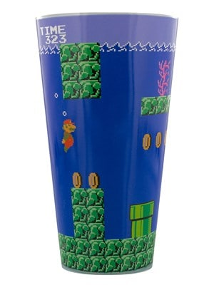 Super Mario Bros Blue Drinking Glass