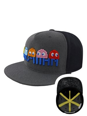 PacMan Characters Embroidered Snapback Cap Grey