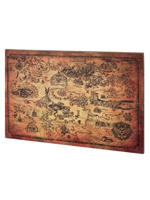 Legend of Zelda The Hyrule Map Wooden Wall Art 40x59cm