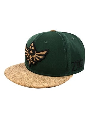 The Legend of Zelda Cork Triforce Logo & Cork Bill Snapback Cap Bottle Green