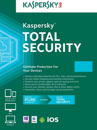 Kaspersky Total Security 2 Devices 1 Year Kaspersky Key EUROPE