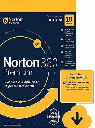 Norton 360 Premium Non-Subscription - (10 Devices, 1 Year ...