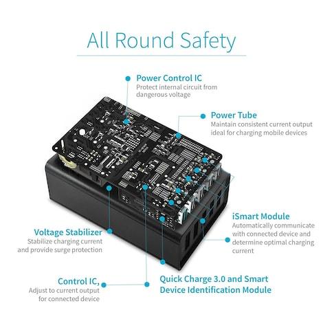 Mivi 5 port 8A Desktop USB Turbo Charging Station HUB  Black Plastic 4ft. - product photo 3