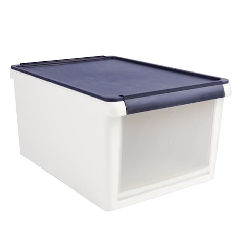 [REYTID] 17L Open Front Stackable Ultra-Durable Storage Boxes - White/Navy Blue - Tubs Box Plastic