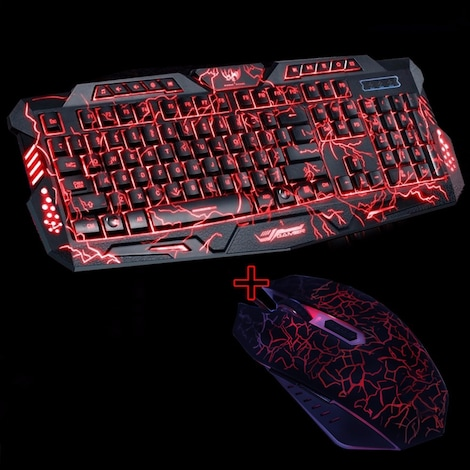 Purple/Blue/Red LED Breathing Backlight Pro Gaming Keyboard Mouse Combos USB