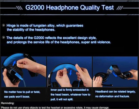 KOTION EACH 3.5mm Gaming Headset Blue 2ft. - product photo 5